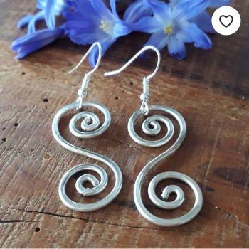 Large Celtic Silver Spiral Earrings
