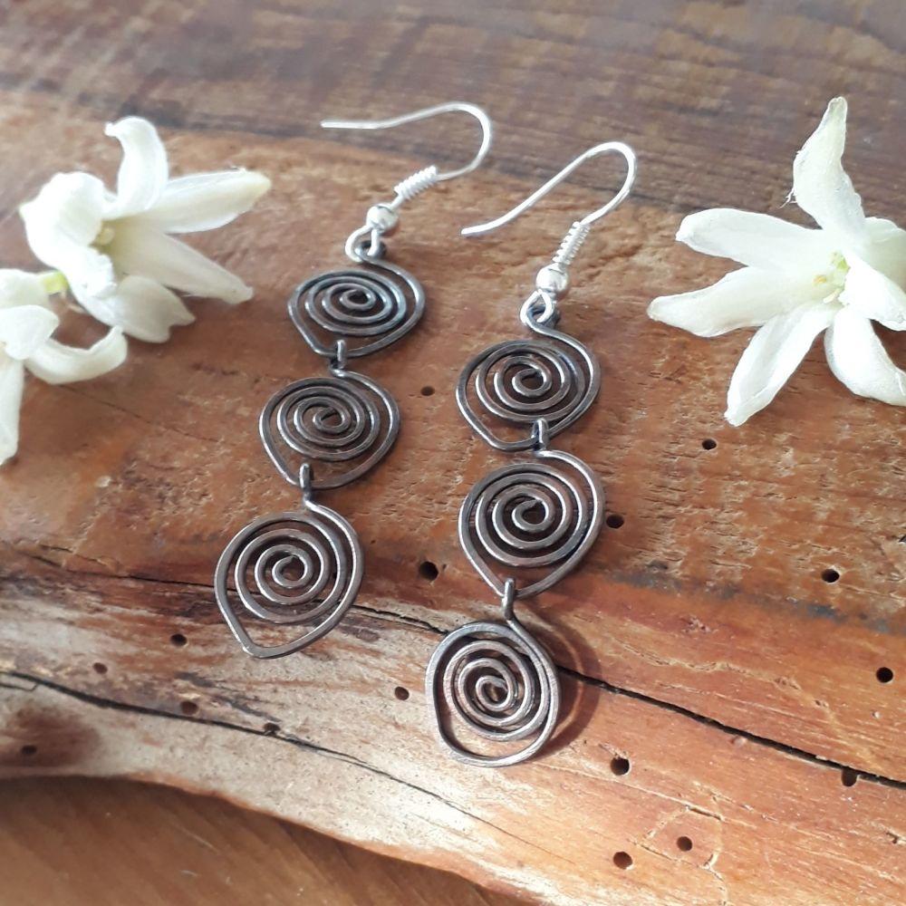 Triple spiral copper earrings