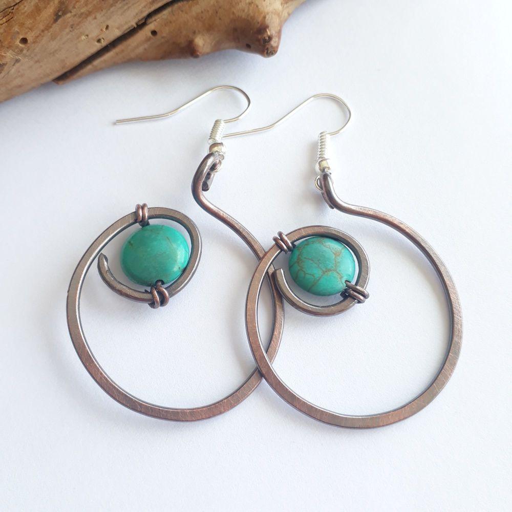 Turquoise hoop spiral earrings
