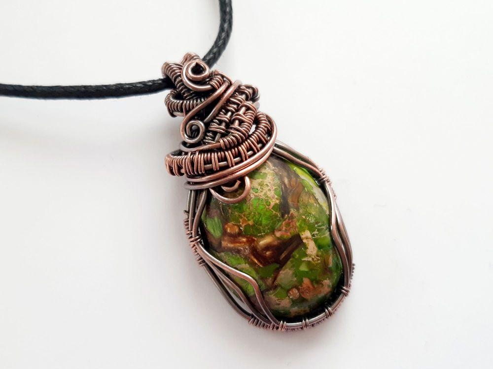 Green Sea Sediment Jasper Copper Wire Wrapped Pendant
