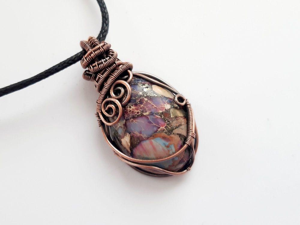 Purple Sea Sediment Jasper Copper Wire Wrapped Pendant