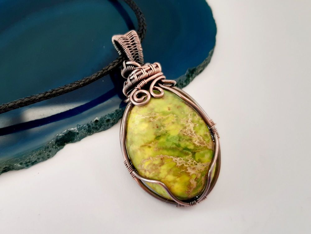 Light Green Sea Sediment Jasper Copper Wire Wrapped Pendant