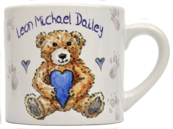 Child's Mug-Teddy Blue Heart