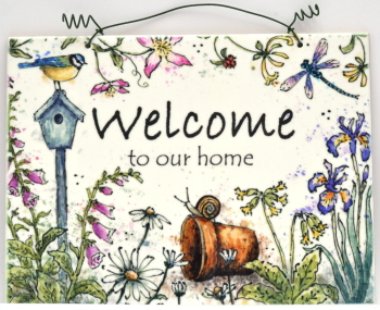 Printed Tile- Welcome Sign, Life Mix