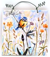 Printed Tile- Bluetit & Buttercups