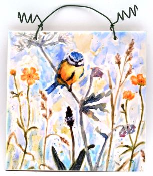 Printed Tile- Bluetit & Buttercups