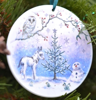Bauble - Donkey, Tree & Snowman