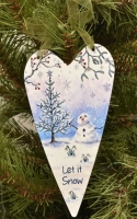 Metal Heart- Snowman & Tree