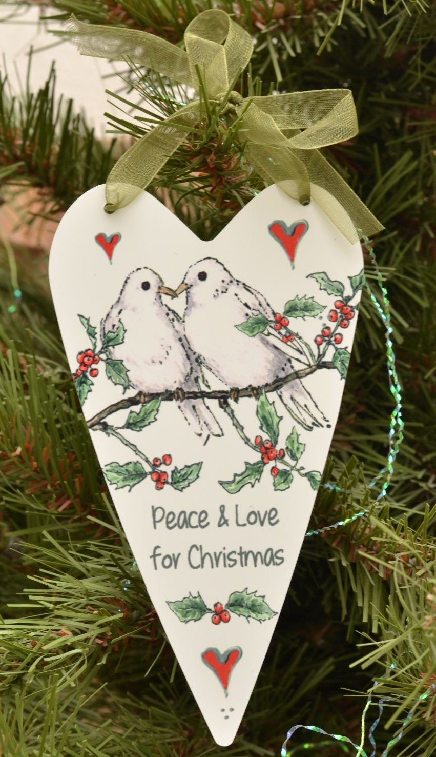 Printed Hearts- Christmas Doves