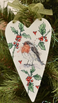 Metal Heart- Christmas Robin