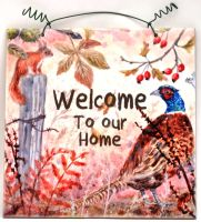 Printed Tile- Welcome Autumn Pheasant