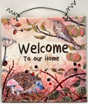 Printed Tile- Welcome Autumn Hedgehog