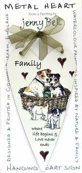 Metal Heart- Dog Family