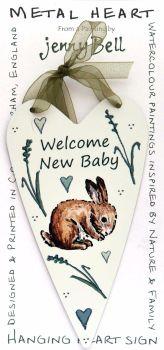 Metal Heart- Welcome New Baby - Rabbit