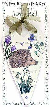 Metal Heart- Hedgehog & spring flowers
