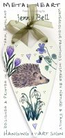 Metal Heart- Hedgehog & spring flowers