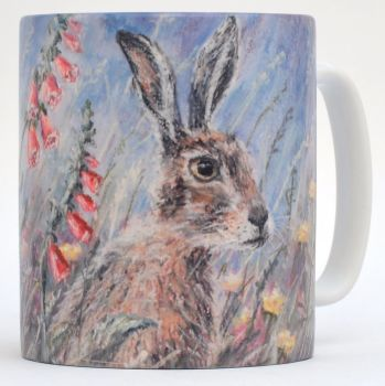 Mug or Coaster-Hare & Foxgloves