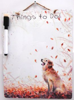 Dry-Wipe Board - Autumn Dog
