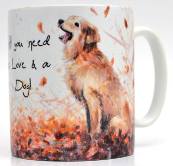 Mug or Coaster-Autumn Dog
