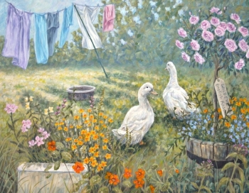 Original Paintings - Duck Garden