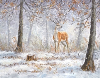 Original Painting - Winter Stag