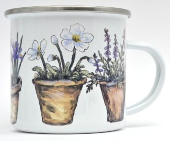 Enamel Mug - Flower Pots