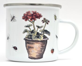 Enamel Mug -Granium Flower Pot & Insects