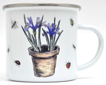 Enamel Mug -Iris Flower Pot & Insects