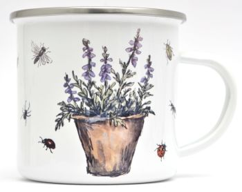 Enamel Mug -Heather Flower Pot & Insects