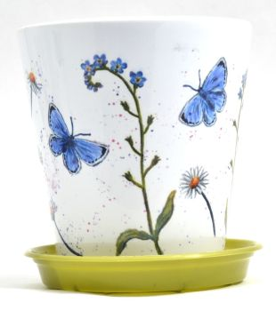 Plant Pot - Blue Butterflies