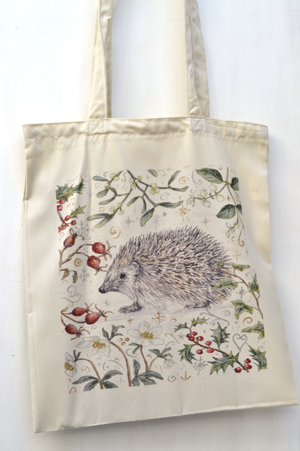 Bag - Winter Berries - Hedgehog