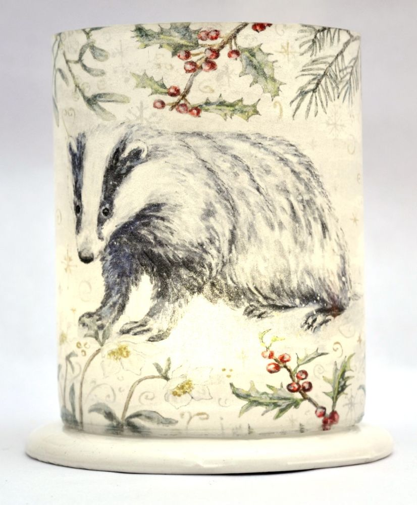 Tealight Lanterns - Winter Border - Badger