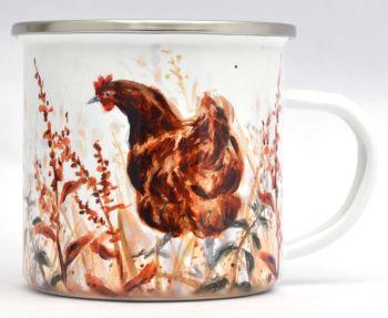 Enamel Mug - Autumn Hen