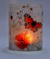 LED Tealight Lanterns - Peacock Butterfly
