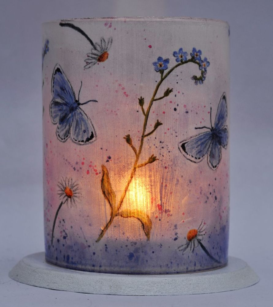 Tealight Lanterns - Forget-me-nots