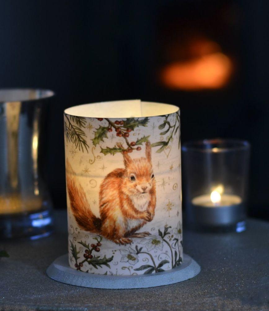 LED Tealight Lanterns - Winter Border - Red Squirrel