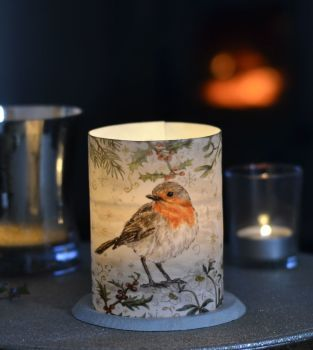 LED Tealight Lanterns - Winter Border - Robin