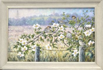Original Oil Painting - Sparrow & Roses