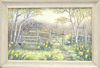 Original Oil Painting - Daffodil Walk