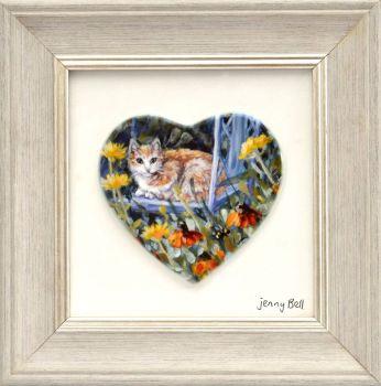 Framed Heart - Ginger Cat