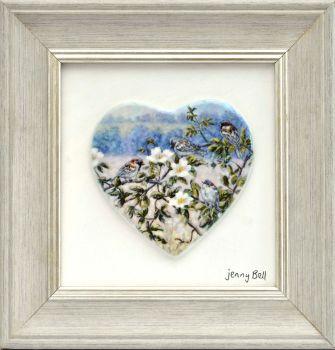 Framed Heart - Sparrows & Roses