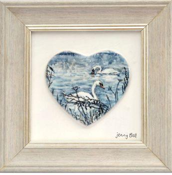 Framed Heart - Winter Swans