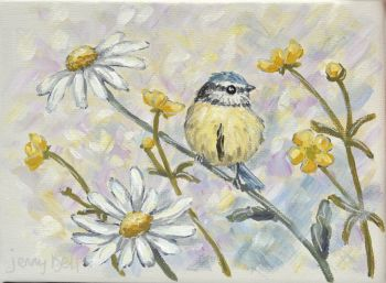 Small Canvas - Bluetit & Daisy