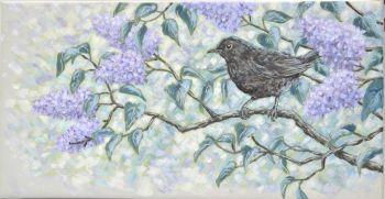 Original Acylic Painting - Blackbird & Lilac