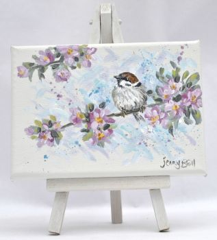 Small Canvas - Sparrow & Blossom
