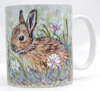 Mug or Coaster-Rabbits in Clover