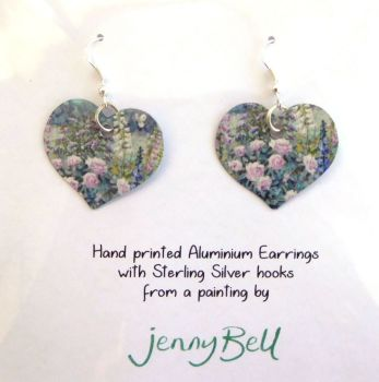 Pendant or Earrings - Butterfly garden / Roses