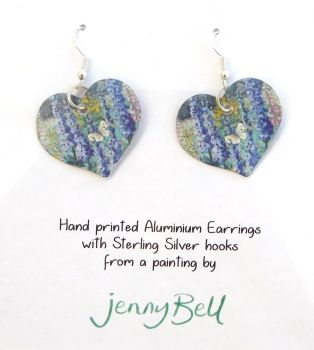 Pendant or Earrings - Butterfly garden/ delphinium
