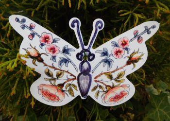 Butterflies - Peach Hollyhocks