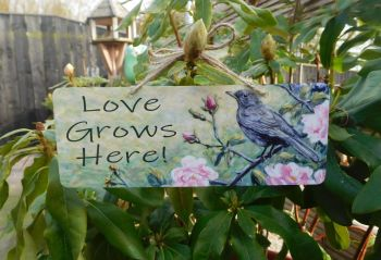 Garden Sign - Blackbird & Roses